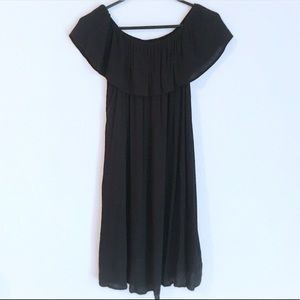 Black Off the Shoulder Textured Mini Dress Medium